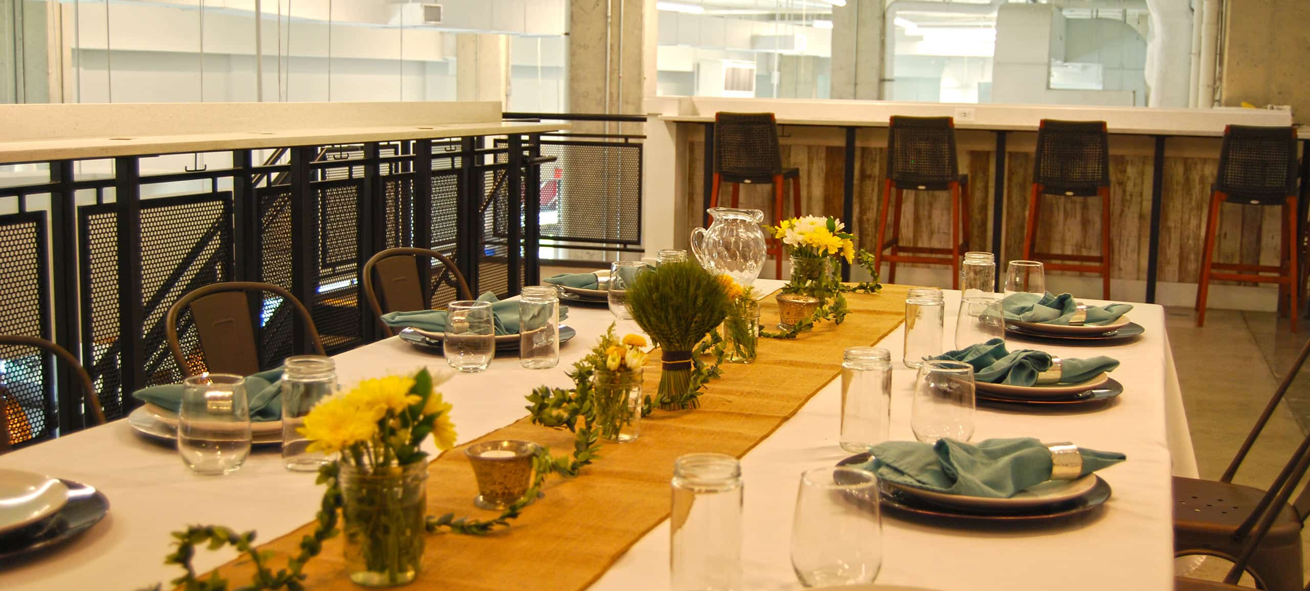 A table with places set before an event