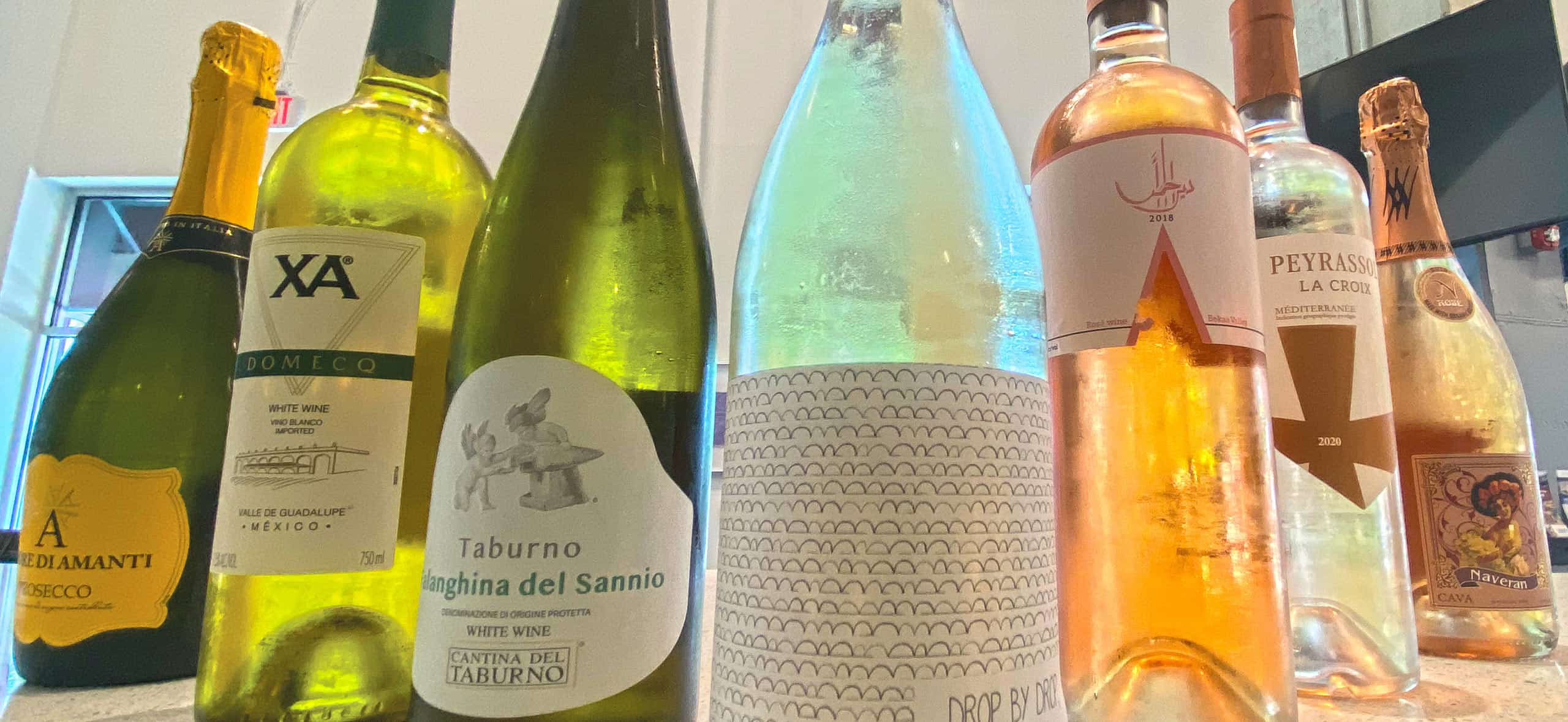 Various bottles of wine and spirits